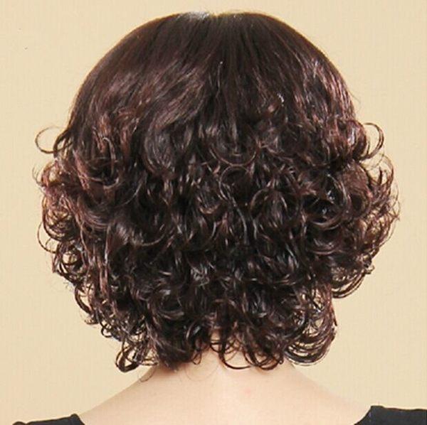 假髮女時尚短捲髮中老年假髮女碎斜齊劉海媽媽整頂假髮化療假髮套