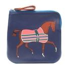 HERMES 愛馬仕 Carre Pocket pouch 雙色馬兒圖案方形小袋 零錢包 D刻 Swift