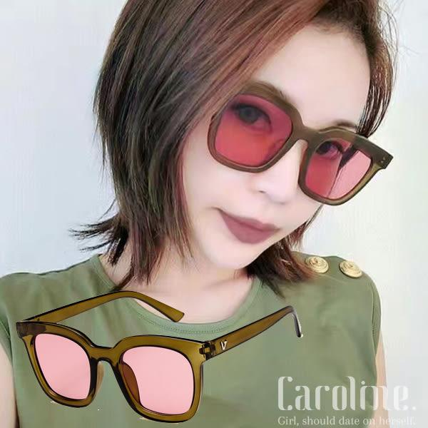 《Caroline》★2018新款時尚潮牌復古方框潮流透明橄欖綠果凍色太陽眼鏡 69847標檢局D74321