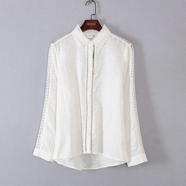[超豐國際]麥春夏裝女裝本白色蕾絲麻質感長袖襯衫 44289(1入)