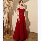 平口洋裝/一字領 氣質敬酒服新娘2021新款酒紅色一字肩顯瘦結婚禮服夏季蕾絲小個子