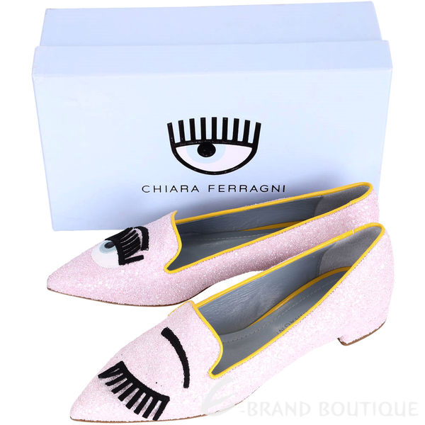 Chiara Ferragni Flirting 新版眨眼仿礫石尖頭鞋(粉色) 1610060-05