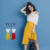PUFII-套裝 字母露肩上衣+不規則魚尾中長裙兩件式套裝 2色-0426 現+預 春【CP14491】