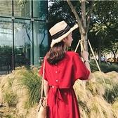 2020 沙灘裙女三亞旅游馬爾代夫海邊度假長裙泰國紅色洋裝童趣