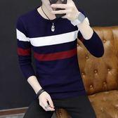 加厚長袖男士圓領針織T恤毛線衣青年條紋衫