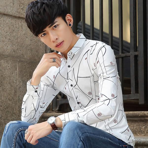 韓版長袖襯衫 男裝上衣修身印花襯衣【非凡上品】cx478
