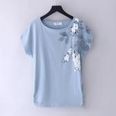 純棉T恤 夏裝白色大碼純棉t恤女短袖寬鬆半袖體桖中年媽媽上衣-Ballet朵朵