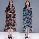 原創設計民族風 秋冬季新款毛呢外套保暖大衣中長款風衣洋裝 快速出貨