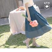 《CA1908-》高含棉配色拼接腰鬆緊浪漫傘襬圓裙 OB嚴選