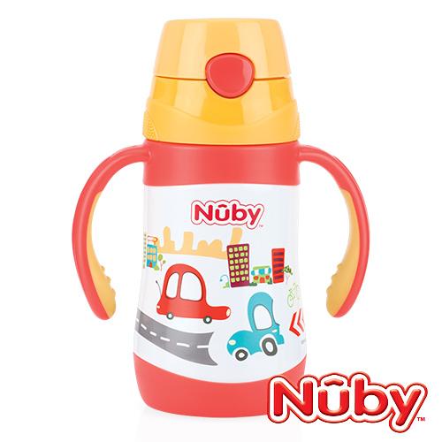 美國Nuby 不鏽鋼真空學習杯(細吸管)280ml-汽車
