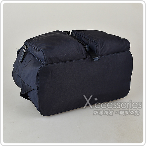 PRADA TESSUTO三角鐵牌LOGO雙口袋設計尼龍束口後背包(深藍)