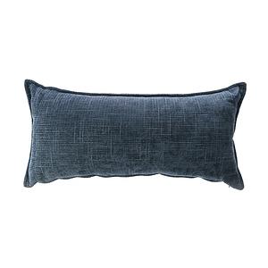 莎爾素色絨綿環保棉腰靠枕30x60cm藍