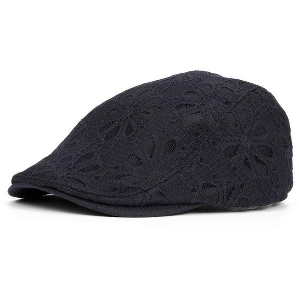 鴨舌帽女士 春夏天蕾絲花朵帽  韓版時尚逛街潮流女帽 貝雷帽