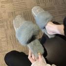 穆勒鞋 毛毛拖鞋女秋冬新款韓版時尚水鉆ins包頭一腳蹬懶人鞋穆勒鞋 萬聖節狂歡