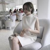 背心裙夏韓版新款氣質寬鬆直筒無袖背心連身裙小個子刺繡a字裙子 伊蒂斯女裝