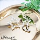 現貨 韓國氣質甜美百搭星星月亮珍珠水鑽不對稱925銀針耳環 K93806 批發價 Danica 韓系飾品