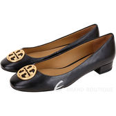TORY BURCH Chelsea 黃銅標誌納帕牛皮低跟鞋(黑色) 1910119-01