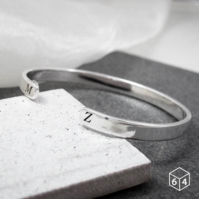 訂製手環/手鐲  刻字姓名縮寫-B 手環(大) 英文 文字 999純銀C型手環-64DESIGN