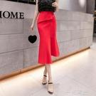 新款夏季高腰不規則a字半身裙女顯瘦一步中長裙子包臀魚尾裙  一米陽光