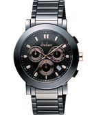 Diadem 黛亞登 都會三眼計時陶瓷腕錶-黑x玫塊金 8D1407-631RG-D