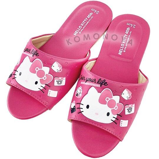 〔小禮堂〕Hello Kitty 成人皮質拖鞋《桃.45週年》室內拖鞋.皮拖 7021968-5022__