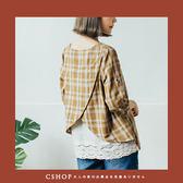 棉麻衫  背刺繡布蕾絲格紋棉麻衫   三色-小C館日系