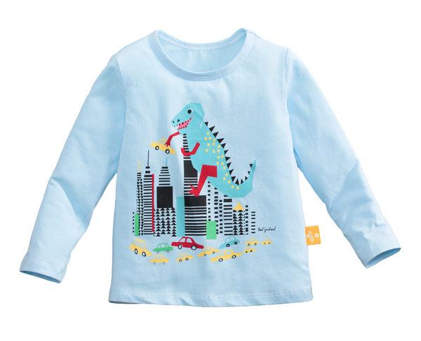 童裝 現貨 純棉小男生中大童長袖上衣-02淺藍底噴火恐龍【97087】