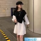 假兩件洋裝 秋裝2020年新款法式拼接假兩件泡泡袖連身裙女氣質顯瘦黑色公主裙 漫步雲端
