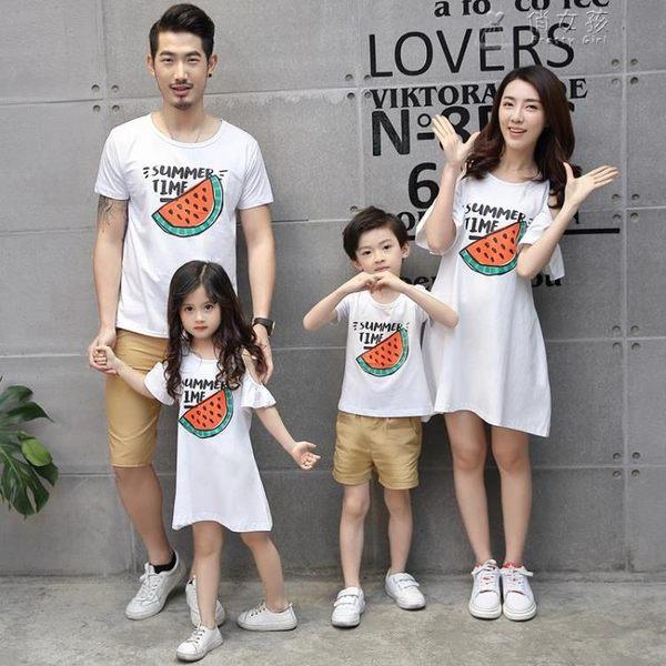 親子裝夏裝母子母女一家三口四口短袖T恤全家裝純棉童裝 俏女孩