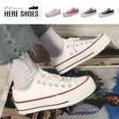 [Here Shoes] 4CM厚底增高 經典復古百搭 厚底綁帶低筒帆布鞋-AWR55