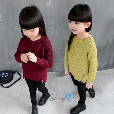 【R0170】shiny藍格子-嬰幼館.秋冬新款女童拉鏈長袖毛衣針織上衣