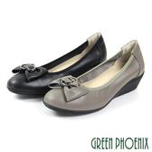 U73-20505 女款楔型娃娃鞋   立體蝴蝶結束口全真皮小坡跟娃娃鞋【GREEN PHOENIX】