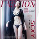 黑色系【銀白色情趣精品】3件式法式蕾絲外罩衫+比基尼+細帶三角褲 性感內衣成套