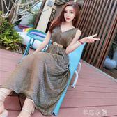 夏裝新款韓版氣質名媛V領無袖露肩收腰顯瘦洋裝禮服長裙女      芊惠衣屋