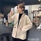 秋冬韓版2019新款法式寬鬆氣質西裝領中長款學生長袖毛呢外套女裝 夢想生活家