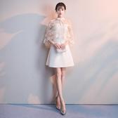 香檳色伴娘服2019新款洋裝派對小禮服女夏短款生日聚會連身裙名媛Mandyc