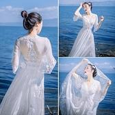 春夏網紗波西米亞蕾絲連身裙修身顯瘦海邊度假沙灘裙大擺露背長裙 韓美e站