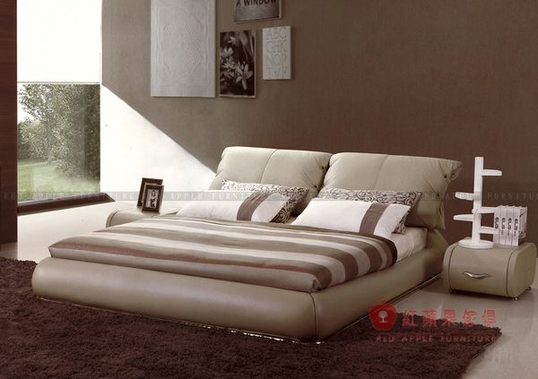 [紅蘋果傢俱] QMT-533 時尚皮藝床 實木真皮床 五尺 六尺雙人床台 牛皮軟床 皮藝床 實木床架