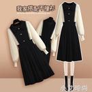 黑色針織連衣裙女秋冬季2020新款配大衣內搭打底裙子赫本風小黑裙 小艾新品