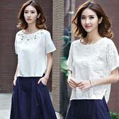 刺繡棉麻短袖T恤女裝夏季寬鬆大碼半袖上衣百搭文藝亞麻白色體恤