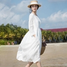 度假洋裝女白色中長款小清新2020春秋韓版新款純棉寬鬆顯瘦裙 快速出貨