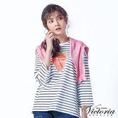 Victoria 草莓圖條紋中長版九分袖T-女-白底黑條