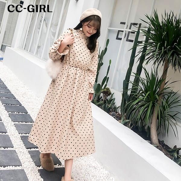 中大尺碼 氣質小立領愛心長袖洋裝~共兩色 - 適XL~4L《 67236G 》CC-GIRL
