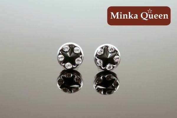 德國鈦鋼 黑色施華洛星星造型 精緻水鑽抗敏耳環(一對)(8 mm)