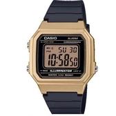 【CASIO】 方形機能性設計感電子錶-金框(W-217HM-9A)