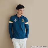 【GIORDANO】  男裝皇家刺繡長袖POLO衫-43 雪花深鯨魚藍