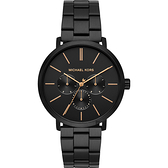 MICHAEL KORS 三環日曆風格個性手錶-黑/42mm MK8703