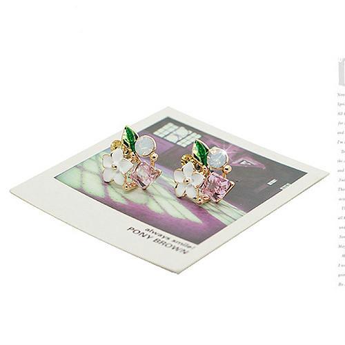 【NiNi Me】夾式耳環  清新甜美綠葉花朵水鑽水晶夾式耳環  夾式耳環 N9022