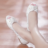 夏季舒適坡跟中年媽媽鞋涼鞋皮質魚嘴女坡跟鏤空女鞋中跟休閒涼鞋