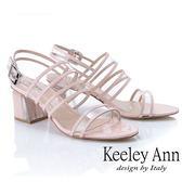 ★2019秋冬★Keeley Ann時尚膠片 透視三條帶方跟涼鞋(粉紅色) -Ann系列